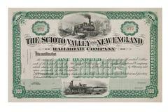 从1800's的旧库存证明 免版税库存照片