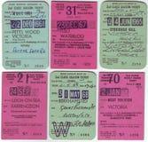 1960年` s英国车票的汇集 免版税库存照片