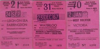 1960年` s英国车票的汇集 库存照片