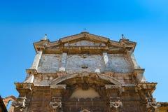 S门面  露西娅教会在蒙特普齐亚诺,意大利 免版税库存照片