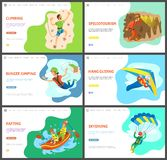 S'élever et Speleotourism, Hang Gliding Rafting illustration libre de droits