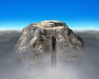 S'élever jusqu'au dessus de la montagne rocheuse d'euro forme de symbole photo libre de droits