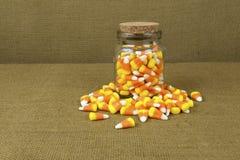 Słój cukierek kukurudza Fotografia Stock