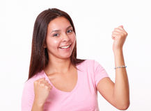 20s ładna dziewczyna świętuje jej zwycięstwo Obrazy Royalty Free