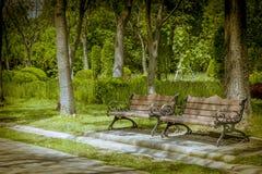 80 's ławka w parku Obrazy Royalty Free