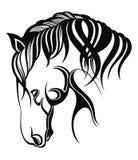 Διανυσματική σκιαγραφία ενός κεφαλιού του αλόγου Σχέδιο εμβλημάτων στο άσπρο υπόβαθρο ελεύθερη απεικόνιση δικαιώματος