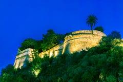Παλάτι πρίγκηπα του Μονακό Νύχτα στοκ φωτογραφία με δικαίωμα ελεύθερης χρήσης