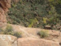 ` S Анджела приземляясь пеший путь, национальный парк Сиона, Юта Стоковая Фотография