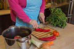 ` S женщины вручает перец вырезывания, за свежими овощами Кашевар женщины на кухне Шеф-повар режет овощи в еду Стоковое фото RF