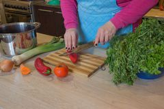 ` S женщины вручает перец вырезывания, за свежими овощами Кашевар женщины на кухне Шеф-повар режет овощи в еду Стоковые Фотографии RF