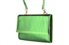 ` S женщины выравнивая сияющую зеленую муфту изолированную на белизне Стоковые Фото