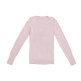 ` S женщин краснеет покрашенный, розовый пуловер v-шеи, изолированный на белизне Стоковое Фото