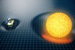 ` s земли иллюстрации 3D и сила тяжести Солнця космос загибов вокруг его с влиянием bokeh Сила тяжести концепции деформирует косм Стоковая Фотография RF