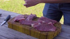 ` S людей вручает соль и перчит мясо Подготавливать для барбекю видеоматериал
