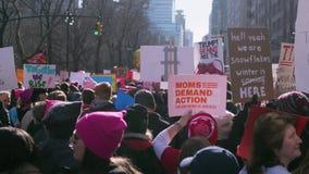 ` S март 2018 женщин в Нью-Йорке видеоматериал