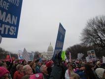 ` S март женщин, права -го женщин права человека, уникально знаки и плакаты, капитолий США, национальный мол, Вашингтон, DC, США Стоковые Фотографии RF