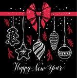 ` S Нового Года забавляется стиль нарисованный рукой на черноте с красными смычком и снегом Стоковые Изображения RF