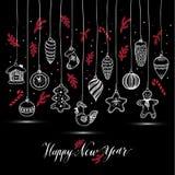 ` S Нового Года забавляется стиль нарисованный рукой Поздравительная открытка для wi рождества Стоковые Фотографии RF