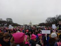 ` S протестующие -го март женщин, толпить на национальном моле, капитолии США, этом нет нормального плаката, DC Вашингтона, США Стоковое Изображение RF