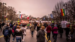 ` S Филадельфия -го март женщин, обозревая скалистые шаги Стоковые Изображения