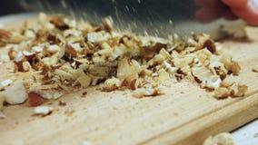 ` S шеф-повара вручает прерывать смешанные гайки на деревянной разделочной доске видеоматериал