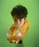 S-1211-Boy Holding Goldfish Stockfotografie
