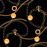 Abstract seamless pattern with golden chains, royalty free illustration