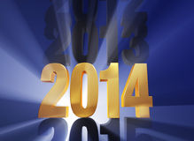 It's 2014!. A brilliantly backlit, shiny bold, golden 2014 stands out in a row of other years in dark gray on a deep blue background with light rays shining Stock Illustration