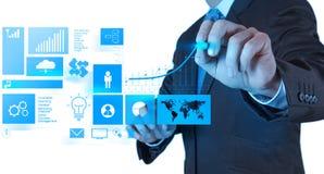 商人手与新的现代计算机和事务s一起使用 免版税图库摄影