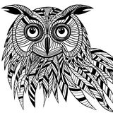 猫头鹰鸟头当吉祥人或象征设计的, s万圣夜标志 免版税库存照片