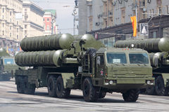 The S-400 (SAM) Triumf. MOSCOW - MAY 07: Dress rehearsal of the 66th Anniversary of Victory Day (WWII) parade rehearse in Red Square on May 7, 2011 in Moscow Stock Photos