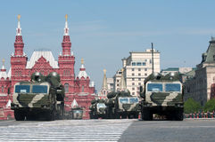 The S-400 Triumf. (NATO name is SA-21 Growler) Russian long range surface to air missile systems  march along the Red Square Moscow Victory Parade of 2010 Stock Images