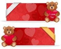 Знамена дня валентинки s с плюшевым медвежонком Стоковая Фотография