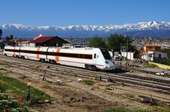 S-598 train, Guadix, Spain. Royalty Free Stock Images