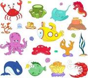 海洋居民和潜水艇 章鱼,水母,海星, s 免版税库存图片