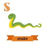 蛇 S信件 逗人喜爱的在传染媒介的儿童动物字母表 滑稽 免版税库存照片