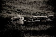 1940s Abandoned Cars in Field Royalty Free Stock Image