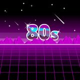 80s Abastrack background pink black , 1980 style retro screen with hills.  Royalty Free Stock Images