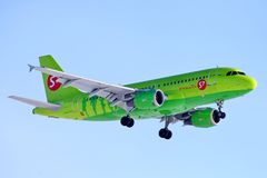 S7 Airlines Airbus A320. Novyy Urengoy, Russia - April 21, 2018: S7 Airlines Airbus A320 arrives to the Novyy Urengoy international airport Royalty Free Stock Photography