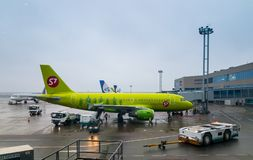 S7 airlines aircraft at Domodedovo airport at day time Stock Image