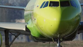 The S7 airlines airplane before departure
