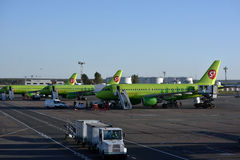 S7 airplanes in Domodedovo airport, Moscow, Russia Stock Photo