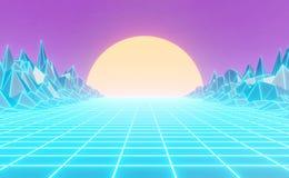80s al neon disegnato, retro paesaggio d'annata, fondo illustrazione di stock