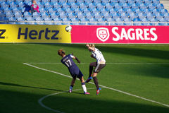 USA vs Germany. 2013s Algarve Cup Final. The Germans (in white) lost 2-0 against USA at the Estadio Algarve, March 13, 2013 royalty free stock photo