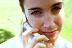 It's all in the call. Close-up of a phone call with a zoom blur stock photo