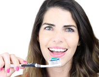 She's all about dental hygiene Stock Photography