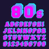 80s alphabet font design. Set of letters and numbers old video game style. Vector illustration Royalty Free Illustration