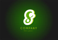 S alphabet letter logo green 3d company  icon design. S alphabet letter hand written hand writing green white logo 3d   creative company icon design template Royalty Free Stock Images
