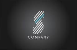S alphabet line stripe white blue letter logo icon design Royalty Free Stock Photo