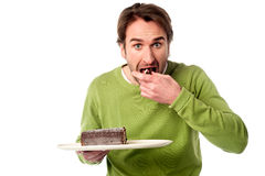 It's an amazingly delicious chocolate cake Stock Photos